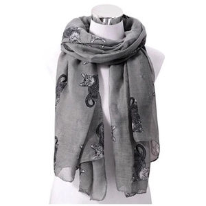 Gray & Black Tabby Cat Lightweight Scarf
